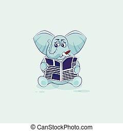 avis, cigar, læsning, elefant