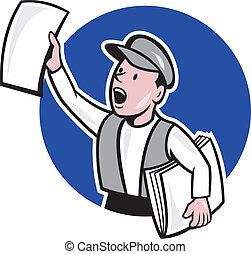 avis, cirkel, sælge, cartoon, newsboy