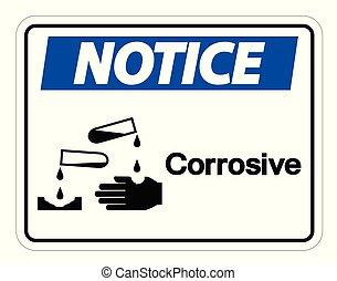 avis, corrosif, symbole, signe