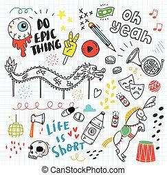 avis, doodle, sæt, baggrund, farverig