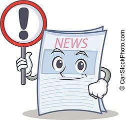 avis, firmanavnet, karakter, cartoon, tegn