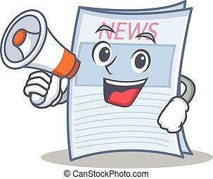 avis, firmanavnet, megafon, karakter, cartoon