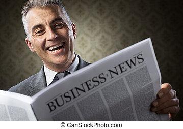avis, forretningsmand, holde