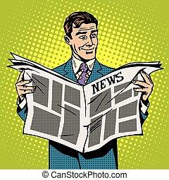 avis, forretningsmand, læsning, mand, nyhed