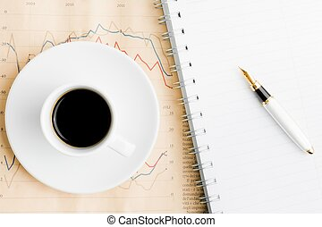 avis, kaffe, finansielle, hen