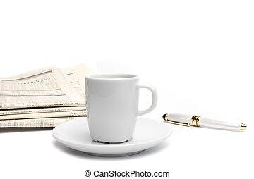 avis, kaffe, finansielle, pen