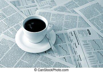 avis, kaffe, hen