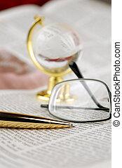 avis, klode, pen, glas