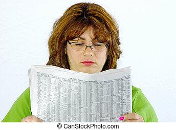 avis, læsning kvinde