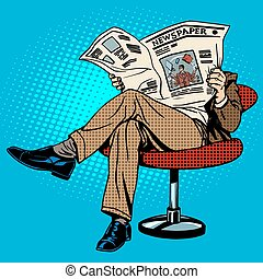avis, læsning, mand