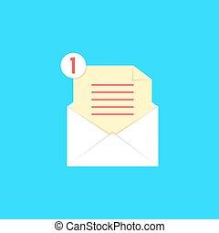 avis, liste, enveloppe, blanc, ouvert, chèque