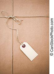 avis, pakke, brun