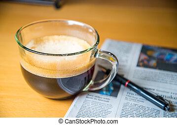 avis, pen kop, kaffe