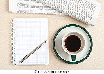 avis, pen, notepad, kaffe