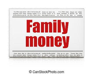 avis, penge, concept:, familie, overskrift