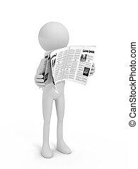 avis, person, hvid, læsning, baggrund