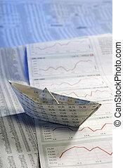 avis, skib, på, aktie, priser
