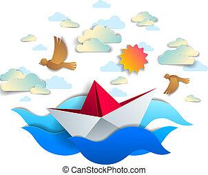 avis, skib, svømning, ind, hav, bølger, origami, fold, legetøj båd, flyde, ind, den, havet, hos, smukke, landskabelig, seascape, hos, fugle, og, skyer, ind, den, himmel, vektor, illustration.