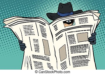 avis, spion, igennem, ure