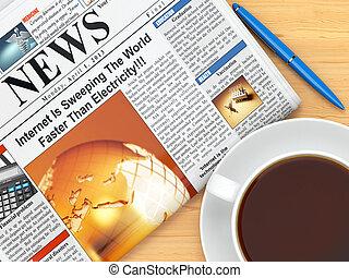 avis, tabel, kaffe kop, pen