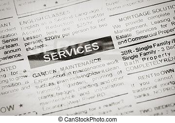 avis, tjenester, reklame.