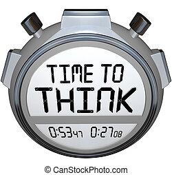 avisador, creativo, pensamiento, tiempo, cronómetro, pensar