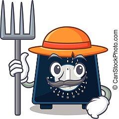 avisador, diseño, trabajando, granjero, sombrero, cocina, ...
