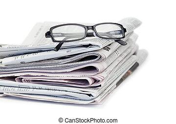 aviser, sort, glas
