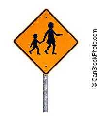 aviso, crianças, cruzamento, -, australiano, sinal estrada