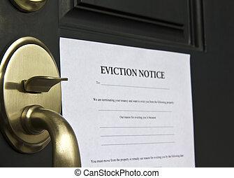 aviso, desahucio, puerta, carta