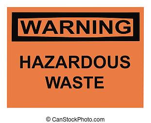 aviso, desperdício perigoso, sinal