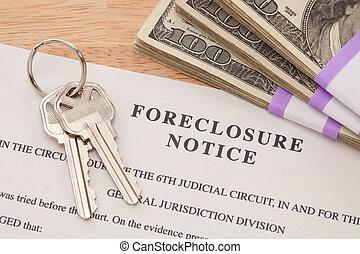 aviso, ejecución hipoteca, dinero, llaves, casa, pila