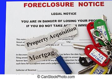 aviso, foreclosed, empréstimo, hipoteca