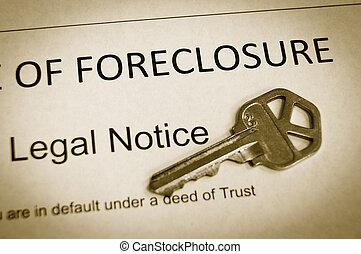 aviso, foreclosure, casa, legal, tecla, macro