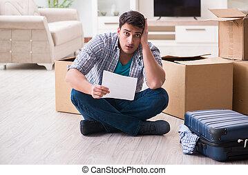 aviso, foreclosure, desempregado, letra, recebendo, homem