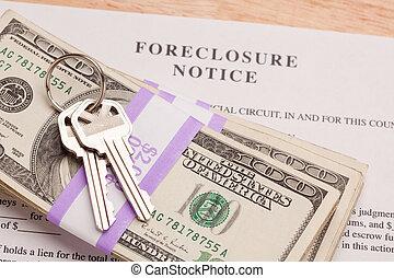 aviso, foreclosure, dinheiro, teclas, casa, pilha