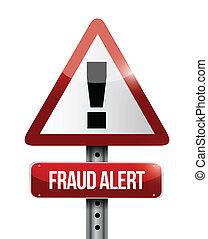 aviso, fraude, alerta, sinal estrada, ilustração, desenho