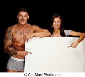 aviso, mulher,  torso,  Muscular, tábua, segurando, em branco, tatuado, homem