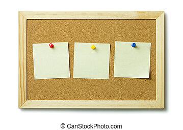 aviso, notas, él, corcho, tabla, blanco, poste