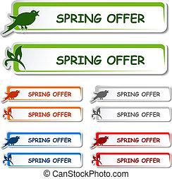 aviso, oferta, primavera, -, etiqueta, vector, tabla