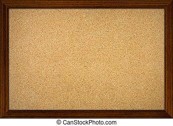 aviso, oficina, marco, corcho, madera, tabla, vacío
