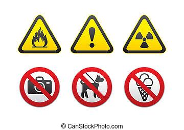 &, aviso, proibido, sinais