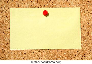aviso, pushpin., amarillo, corcho, nota, tenido, tabla, rojo