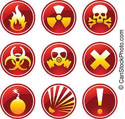 aviso, redondo, ícones