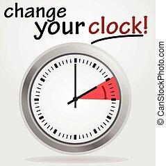 aviso, su, cambio, reloj