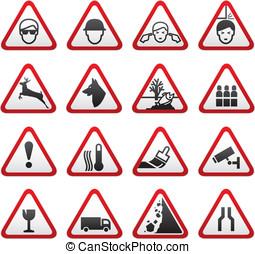 aviso, triangular, perigo, sinais