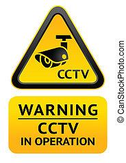 aviso, vídeo, símbolo, vigilância