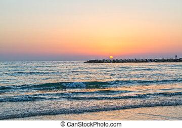 aviv , ηλιοβασίλεμα , tel , θάλασσα