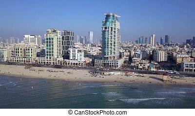 aviv, point, littoral, téléphone, vue, méditerranéen, tlv, skyline.