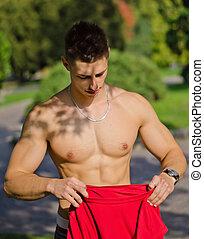 avklädande, parkera, ung, muskulös, man